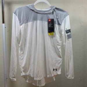 Under Armour White/Gray Hooded Workout Shirt XL